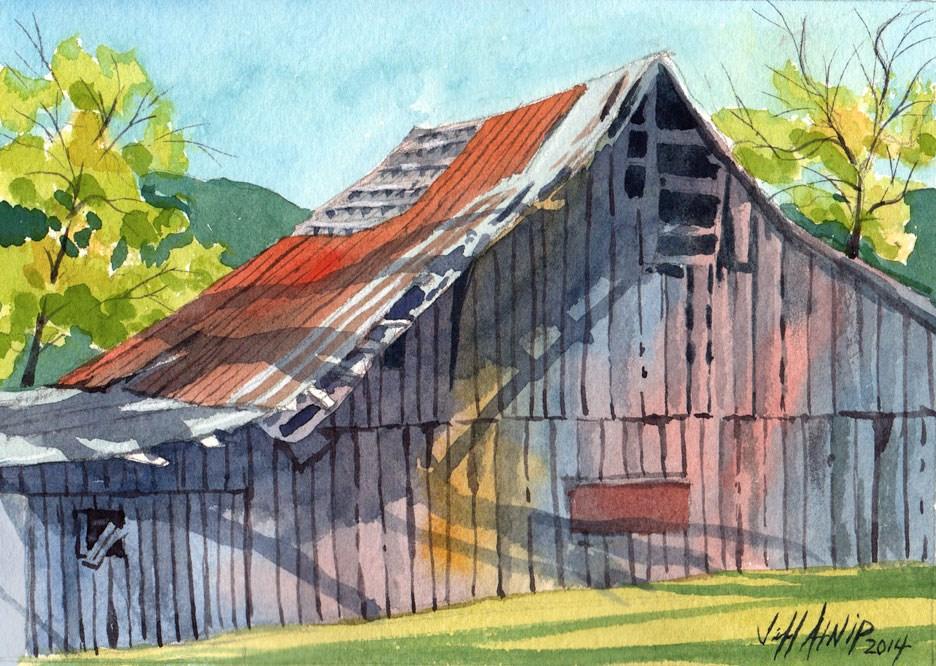"""Behind The Barn"" original fine art by Jeff Atnip"