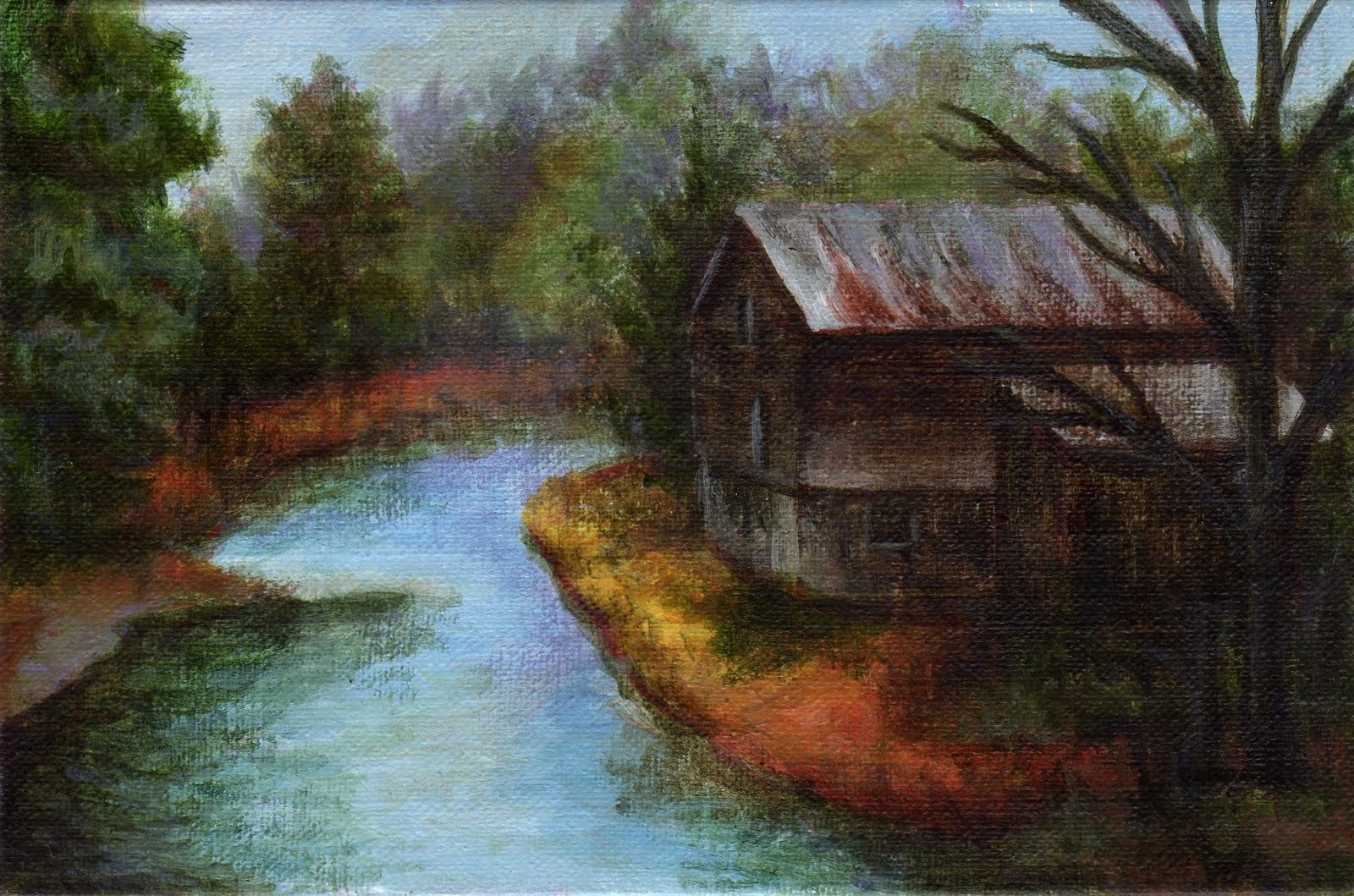 """""""The Old Mill"""" original fine art by Debbie Shirley"""
