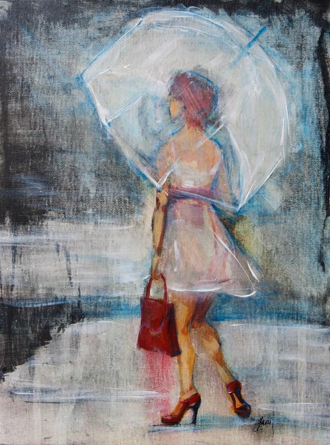 """Spring Rain"" original fine art by Jani Freimann"