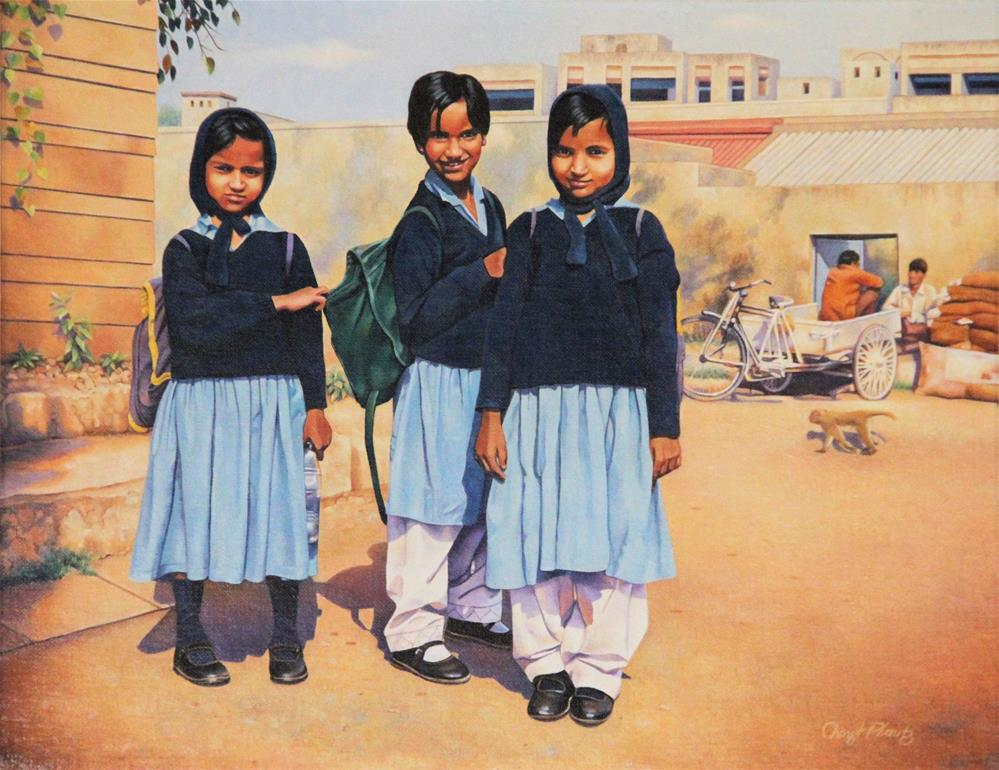 """New Delhi Girls"" original fine art by Cheryl Plautz"