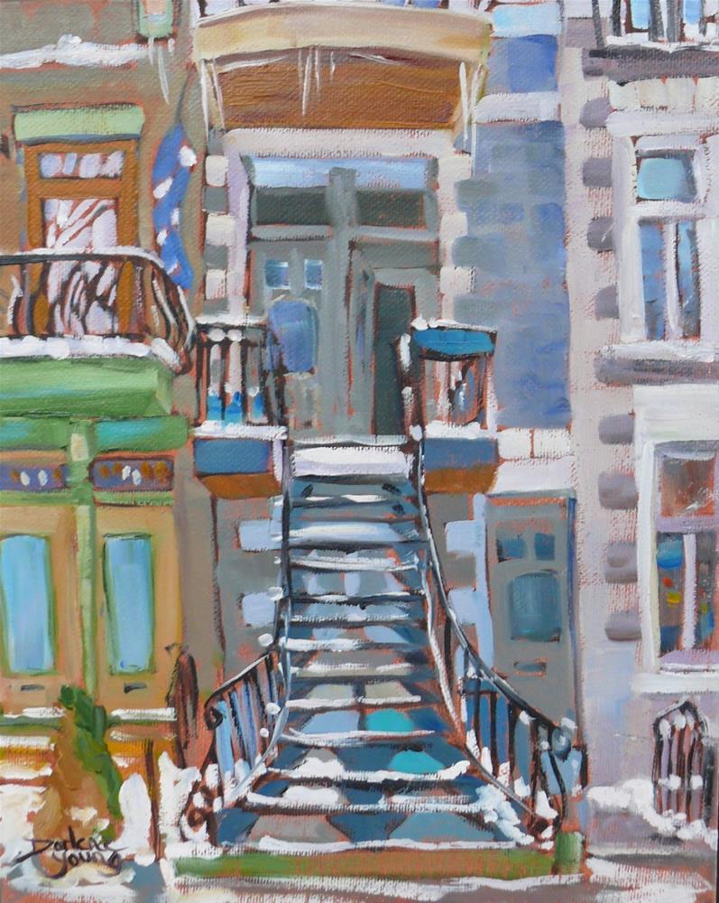 """Open Door, Montreal Winter Scene"" original fine art by Darlene Young"