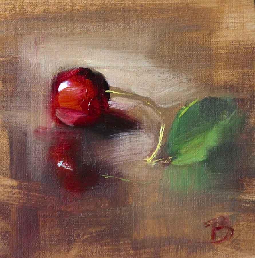 """""""Sweet Cherry"""" original fine art by Pamela Blaies"""