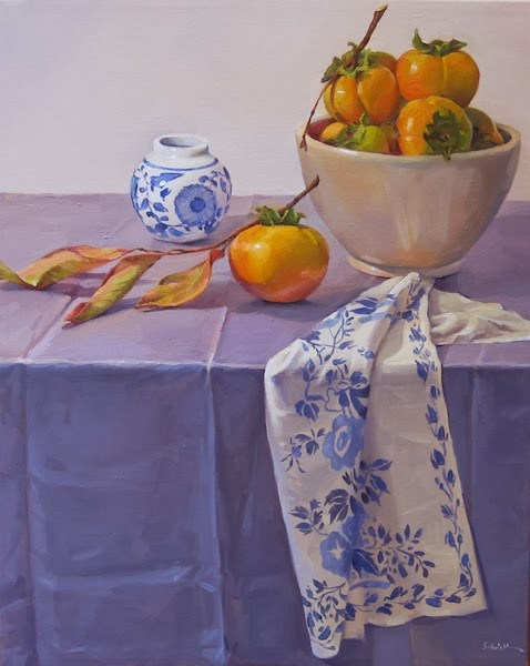 """Persimmons on Periwinkle"" original fine art by Sarah Sedwick"