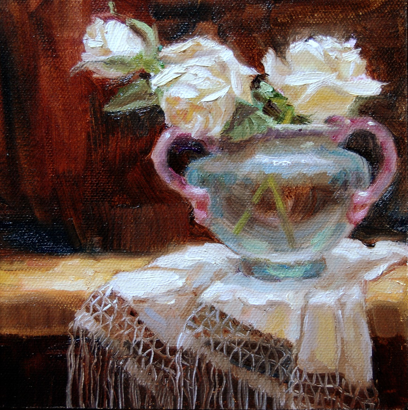 """Roses in Ancient Glass"" original fine art by Julie Ford Oliver"
