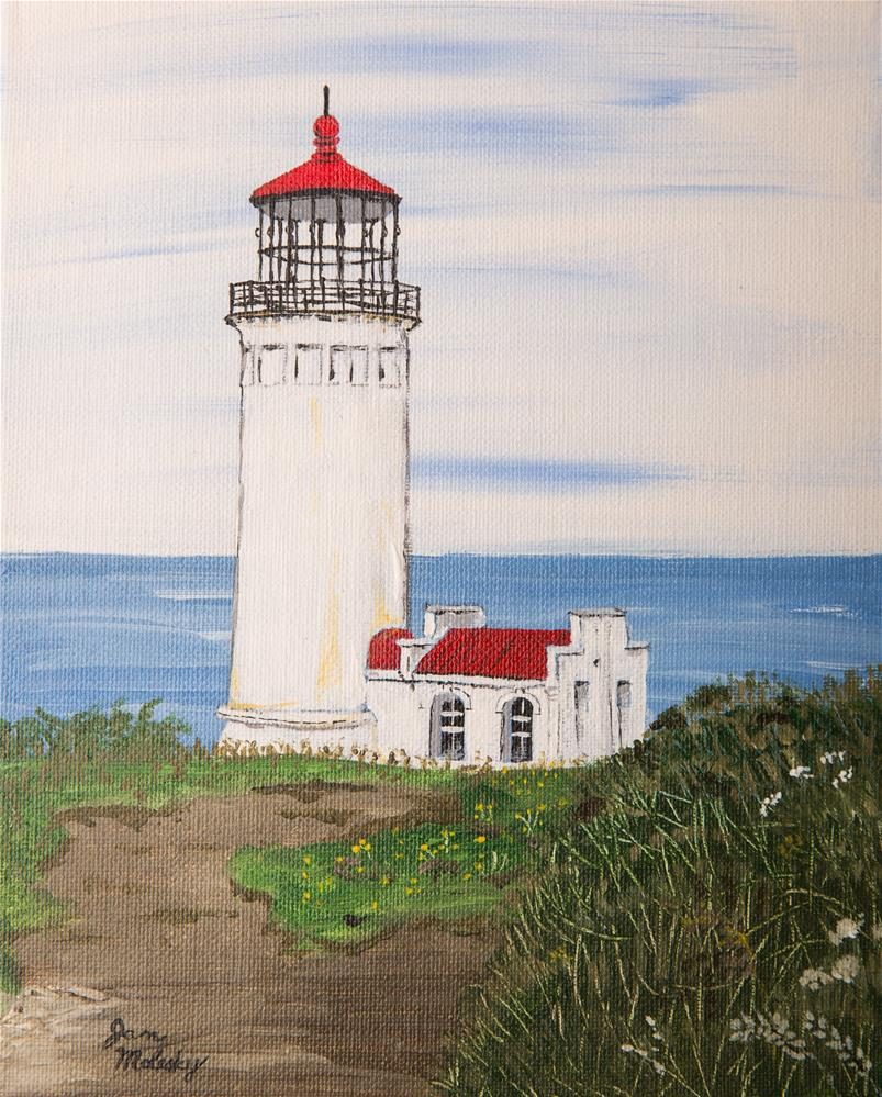 """North Head Lighthouse, Long Beach Washington"" original fine art by Jan Molesky"