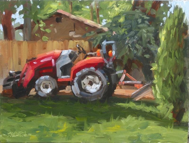 """The Tractor In Back"" original fine art by Karen Werner"