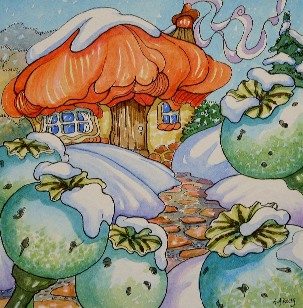 """Winter Comes to Poppy Cottage Storybook Cottage Series"" original fine art by Alida Akers"