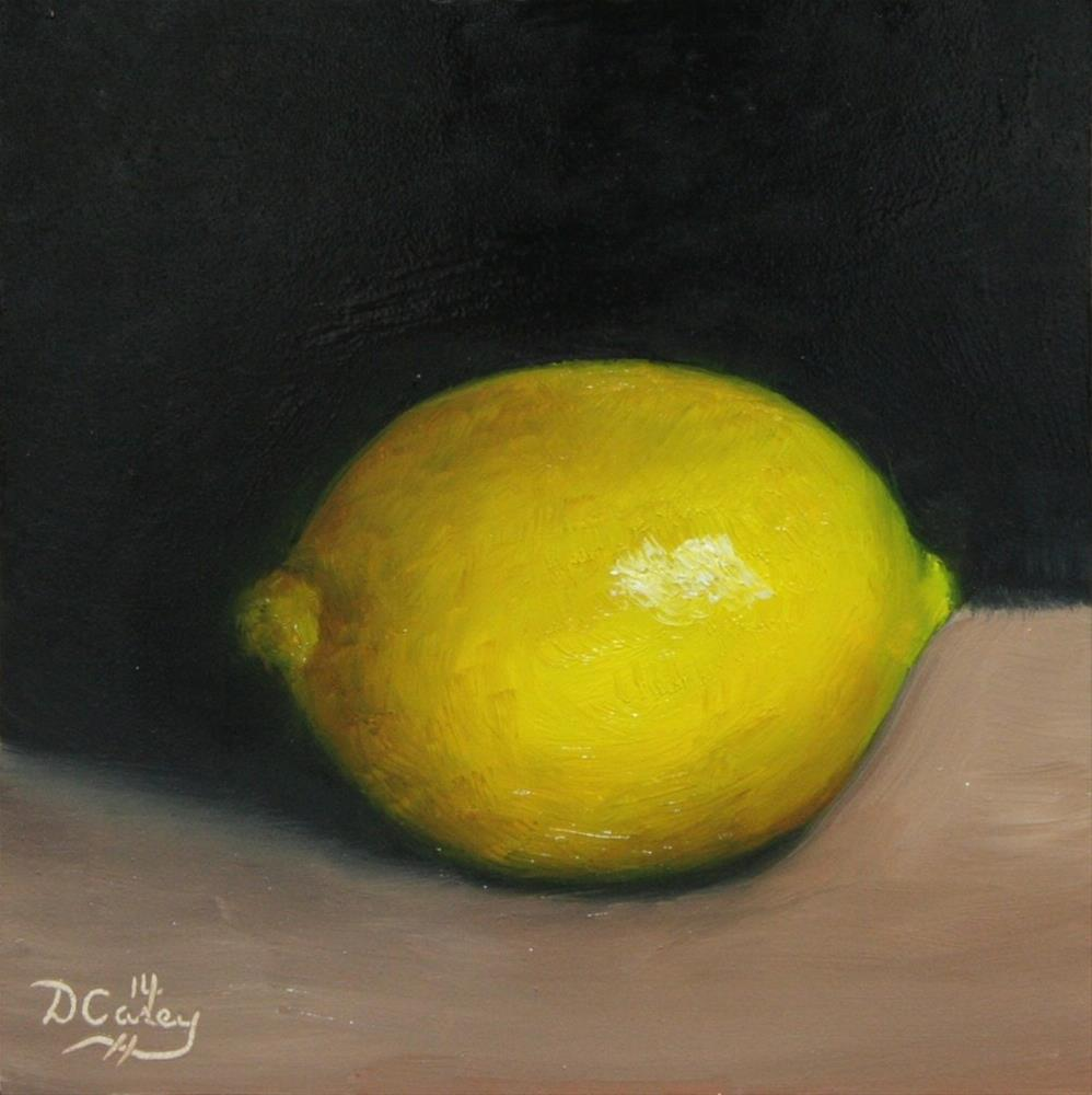 """""""141010 - Kitchen Painting - Lemon 005a 6x6 oil on gessobord - Dave Casey - TheDailyPainter"""" original fine art by Dave Casey"""