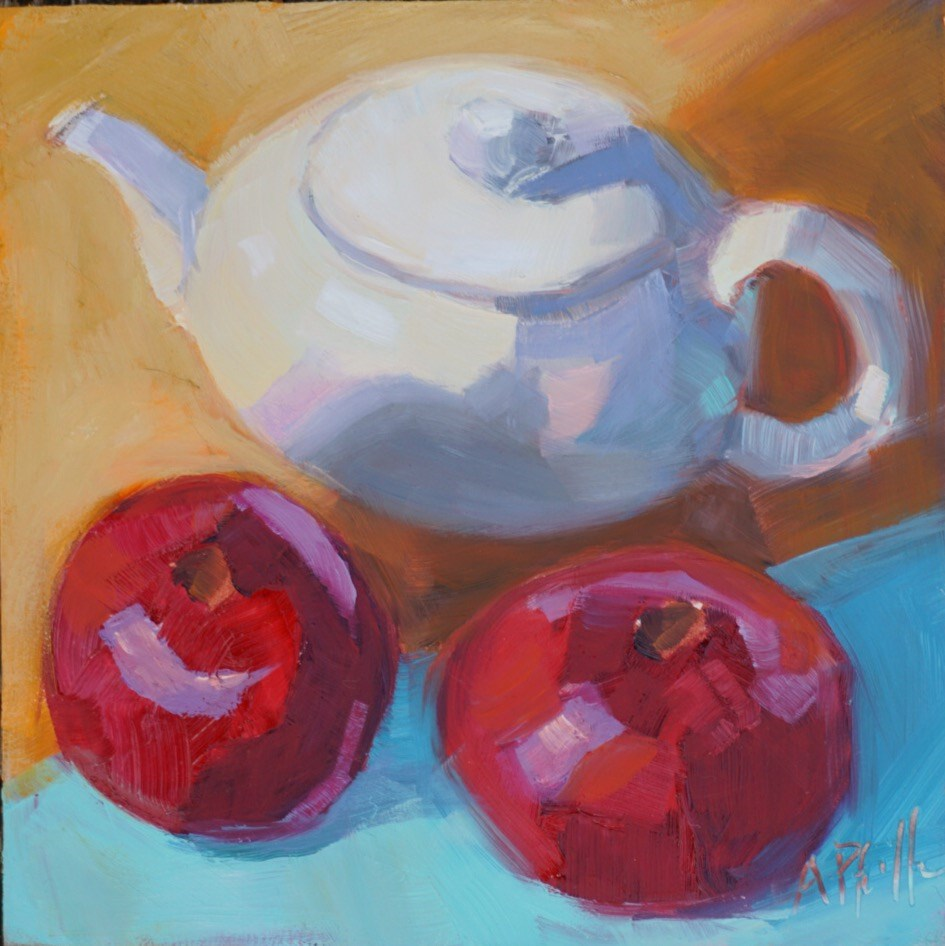 """Two Poms and a Teapot"" original fine art by Anne Pfeiffer"