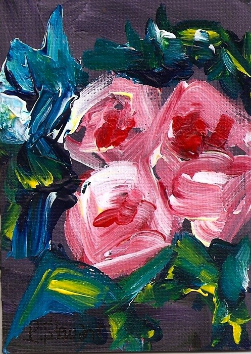 """ACEO 3 More Roses - Closeup Abstract, Loose ala prima, impasto"" original fine art by Penny Lee StewArt"