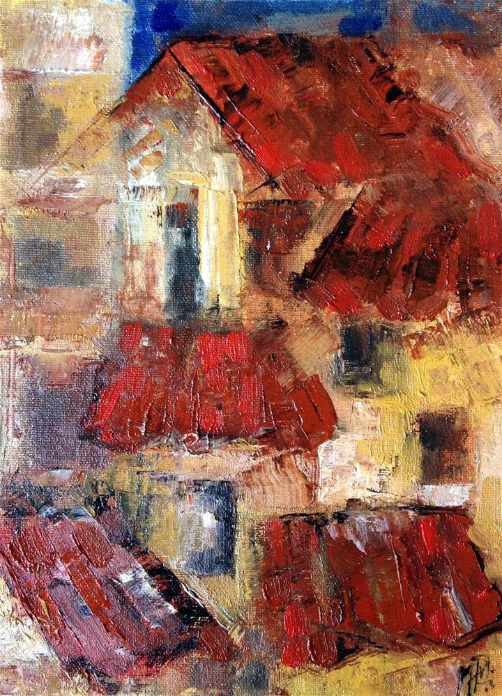 """Red roofs"" original fine art by Monica Pinotti"
