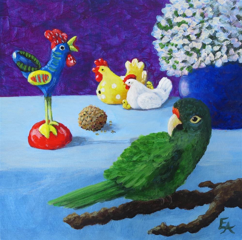 """Travel Chicken and Bella the Conure"" original fine art by Elizabeth Elgin"