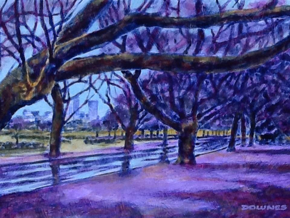 """""""062 PARKS & GARDENS 17"""" original fine art by Trevor Downes"""