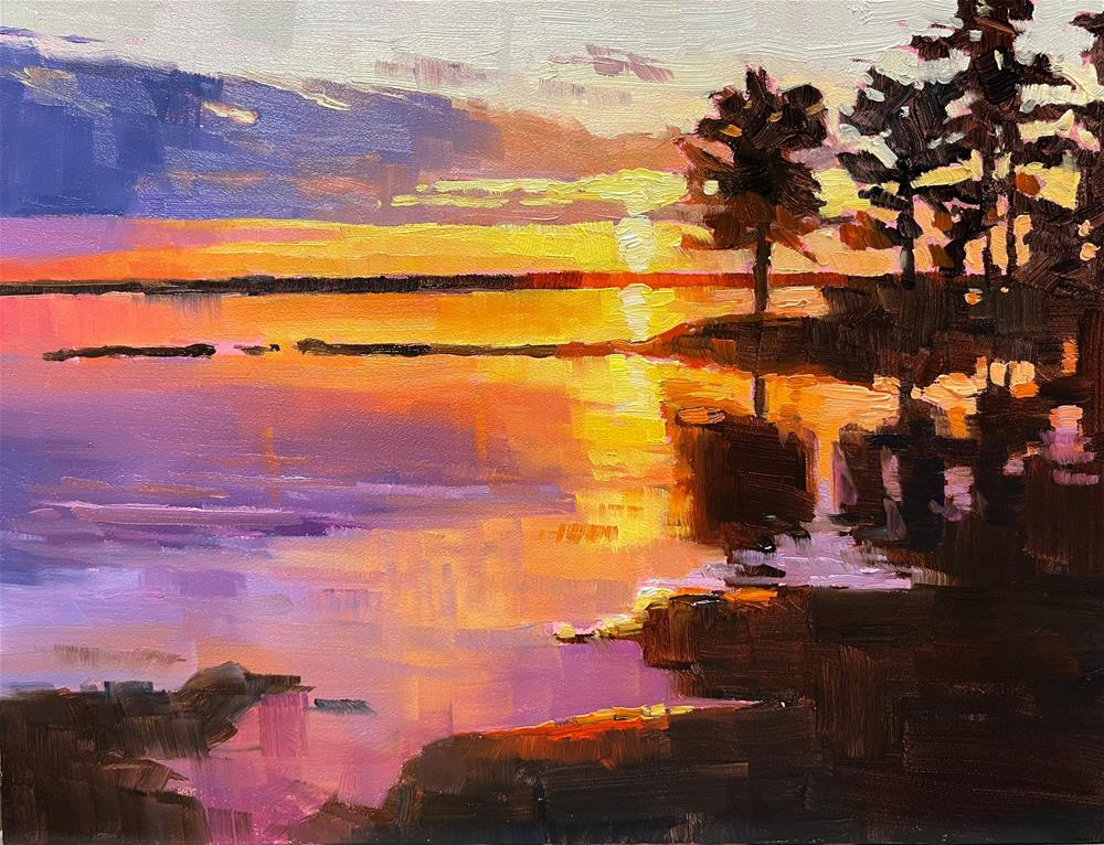 """Lake View Sunset"" original fine art by Carol Granger"