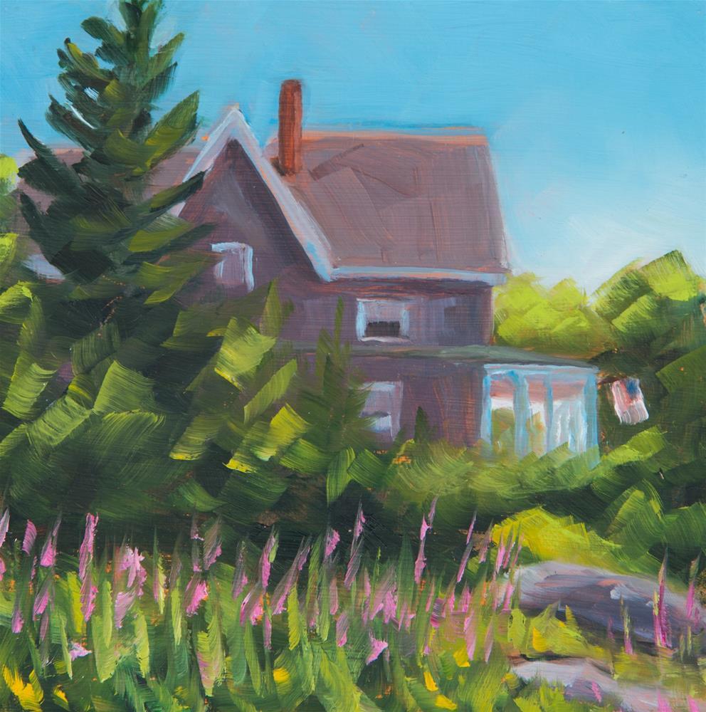 """""""Summer Cottage & Fireweed - Squirrel Island, Maine"""" original fine art by Sara Gray"""