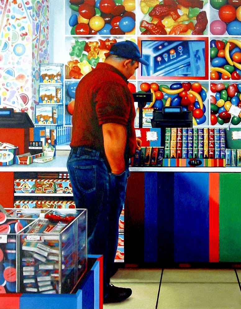 """""""Candy Shop- Painting Of Man Standing In Candy Shop"""" original fine art by Gerard Boersma"""