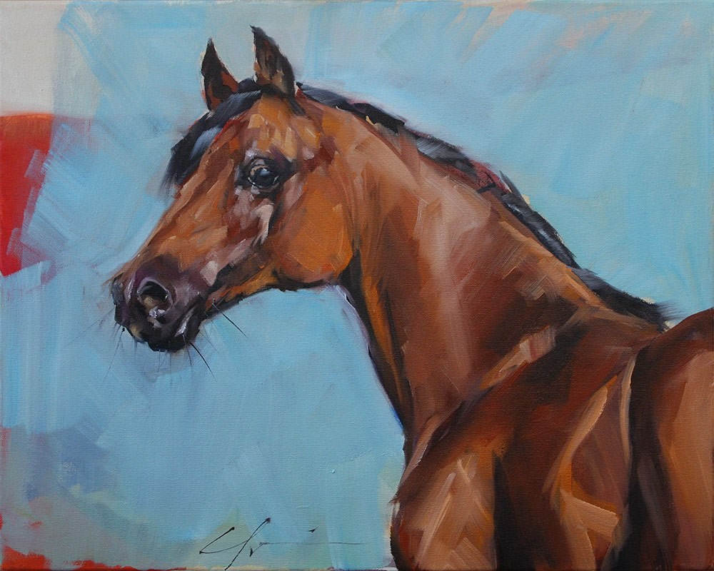 """Big Red"" original fine art by Clair Hartmann"