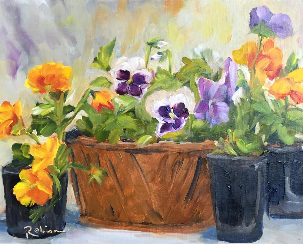 """""""Pansies ready to plant"""" original fine art by Renee Robison"""