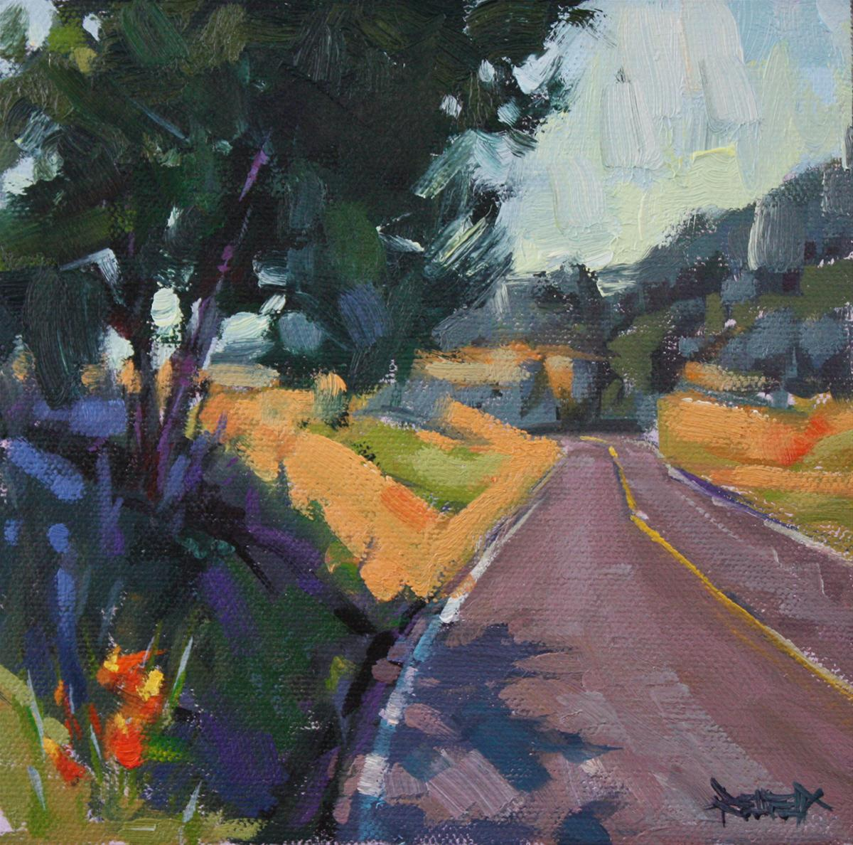 """""""Road to the Mosier Tunnels - sold"""" original fine art by Cathleen Rehfeld"""