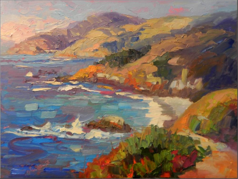 """""""Pacific Blues, 16x20, oil on panel, paintings of Big Sur, Pacific Ocean impressionist paitnigns of"""" original fine art by Maryanne Jacobsen"""