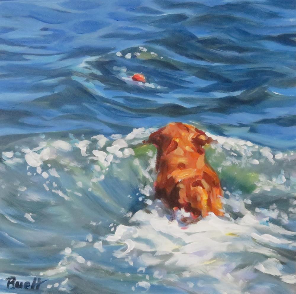 """Unfathomable Fetching Skills"" original fine art by Shari Buelt"
