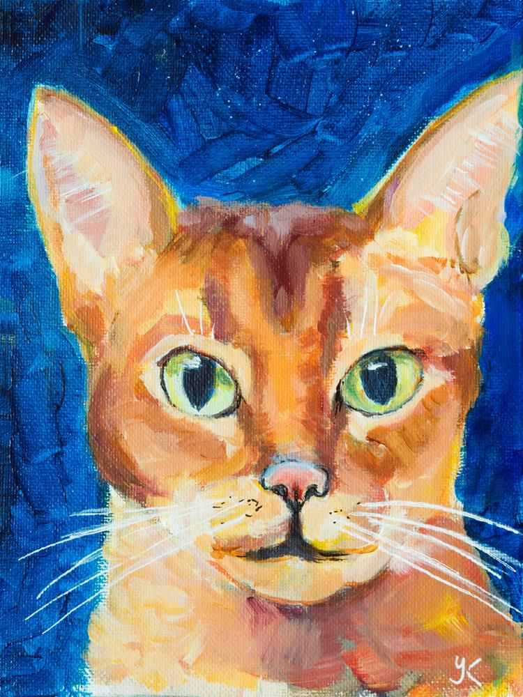 """Orange Abyssinian Cat"" original fine art by Yulia Kazansky"