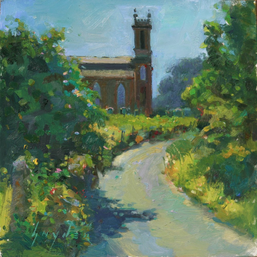 """Summer walk to the Kirk"" original fine art by Julie Snyder"