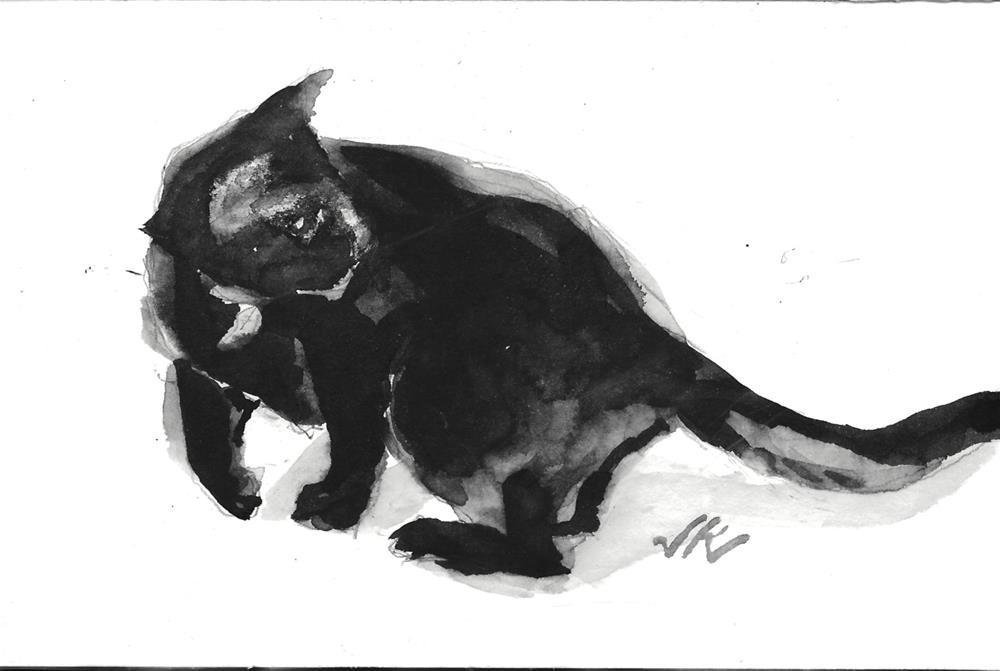 """Daily Cat 137"" original fine art by Jean Krueger"