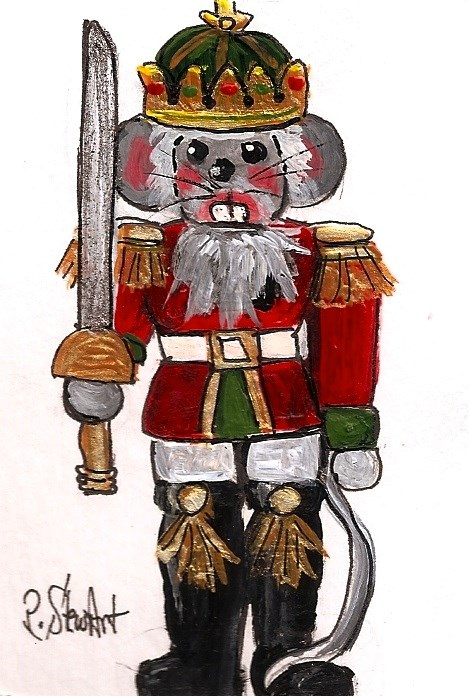 """ACEO Nutcracker Painting Mouse King Sword Acrylic Art Original Penny StewArt"" original fine art by Penny Lee StewArt"
