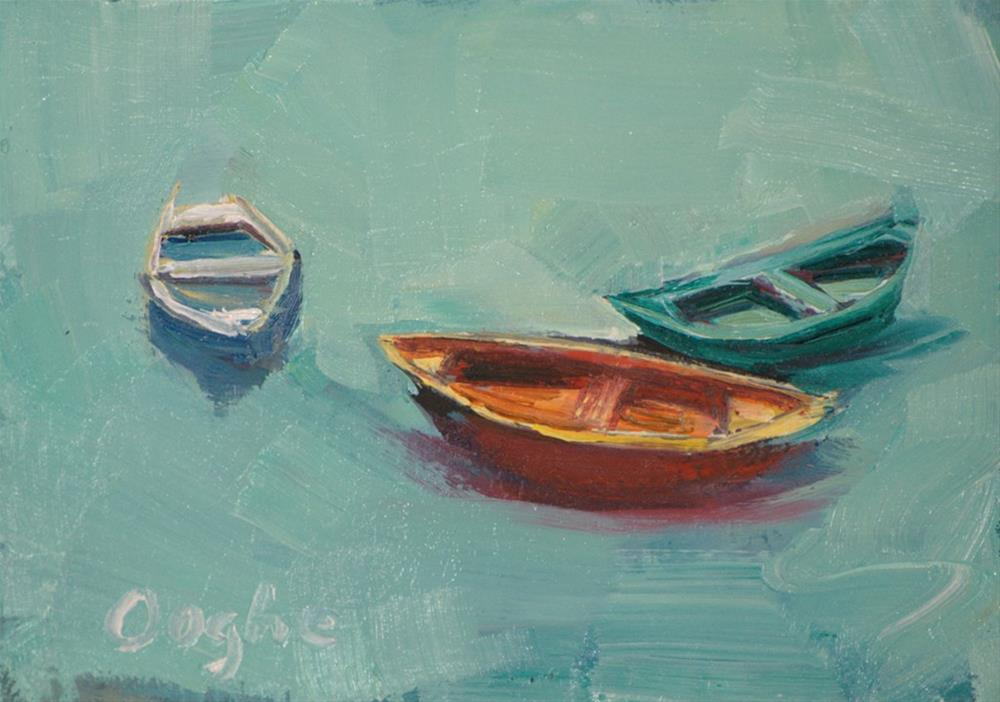 """""""ACEO Three Boats"""" original fine art by Angela Ooghe"""