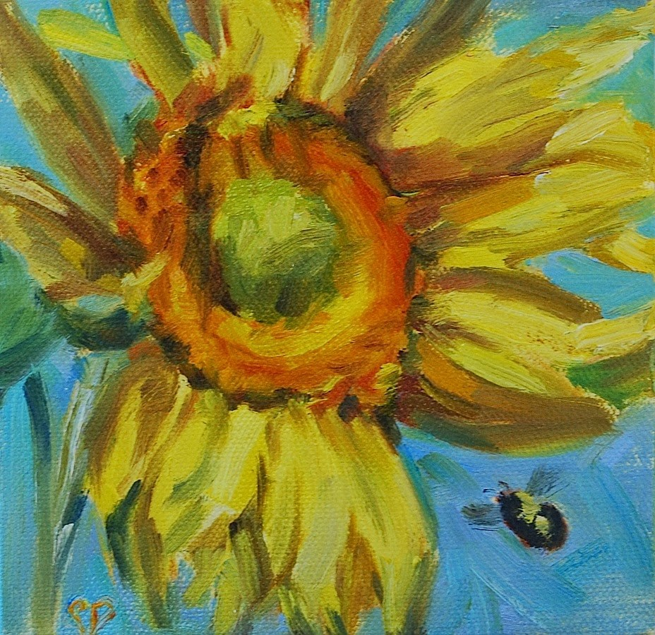 """""""Sunflower with bee, Original oil by Carol DeMumbrum"""" original fine art by Carol DeMumbrum"""