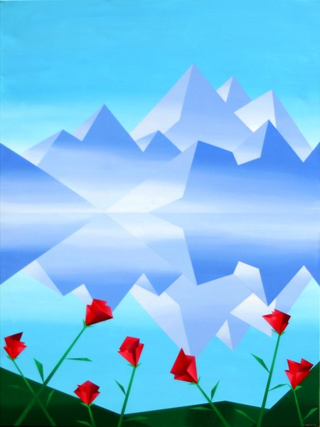 """""""Mark Webster - Abstract Rocky Mountain Lake Reflection with Red Flowers Abstract Painting"""" original fine art by Mark Webster"""