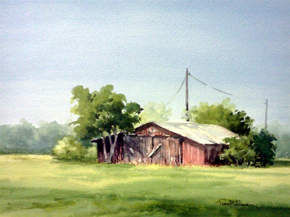 """Barn in Open Field"" original fine art by Tina Bohlman"