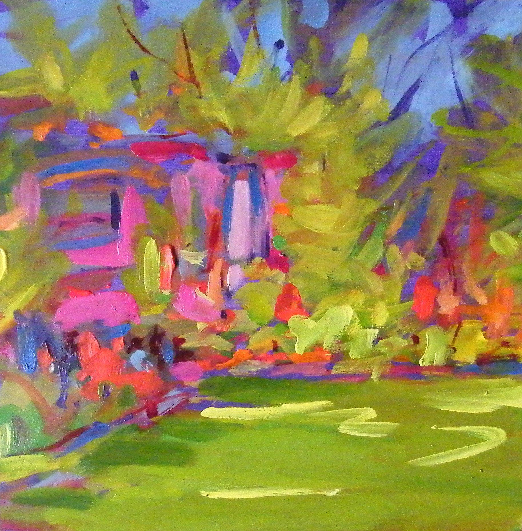 """""""Loose in the Garden 4"""" original fine art by Ken Devine"""