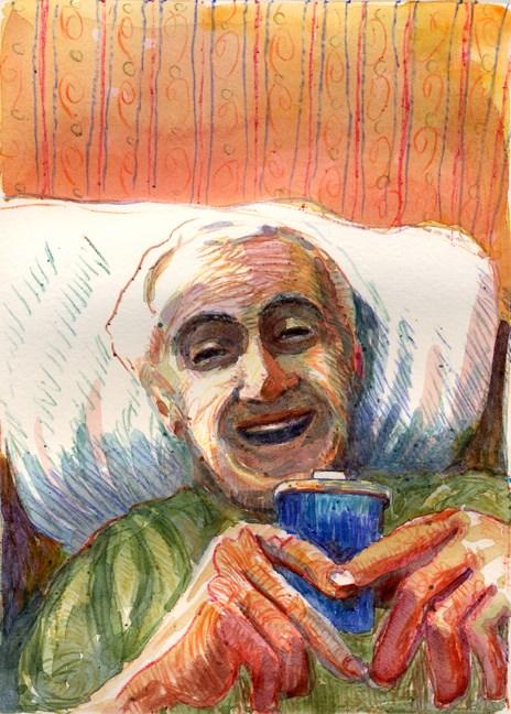 """Monotype: Blue Sip Cup (& #linklove for INKtober!)"" original fine art by Belinda Del Pesco"