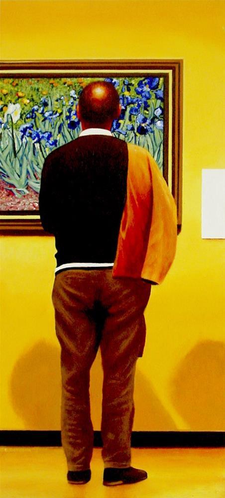 """Irises- Art Within Art Man Enjoying Painting By Van Gogh"" original fine art by Gerard Boersma"
