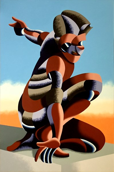"""Mark Webster Artist - Bennett 1023 - Abstract Geometric Futurist Figurative Oil Painting"" original fine art by Mark Webster"