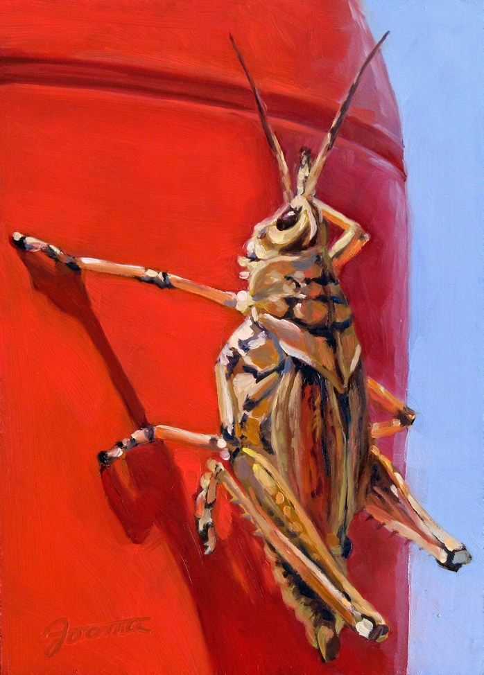 """Grasshopper On The Red Pole"" original fine art by Joanna Bingham"
