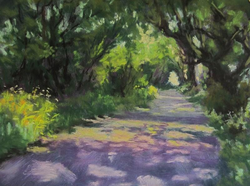 """Sunlit Path 2"" original fine art by Ruth Mann"
