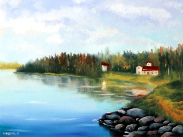 """""""Mark Adam Webster - River Landscape Oil Painting 3-13-11"""" original fine art by Mark Webster"""