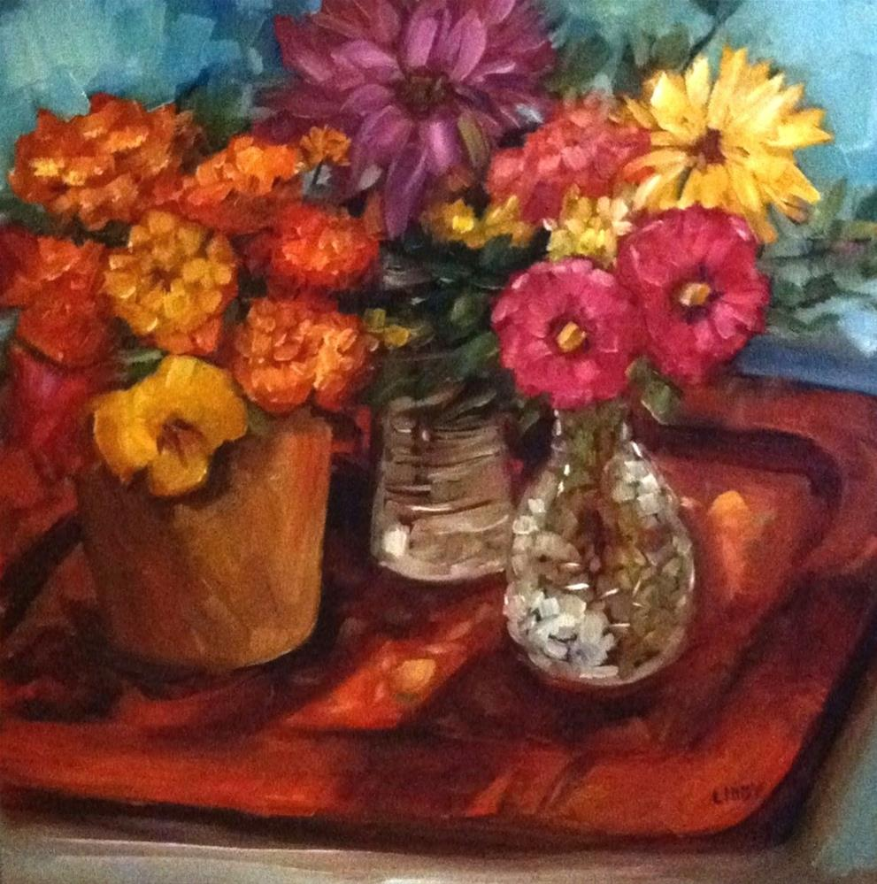 """""""Tray and Flowers"""" original fine art by Libby Anderson"""