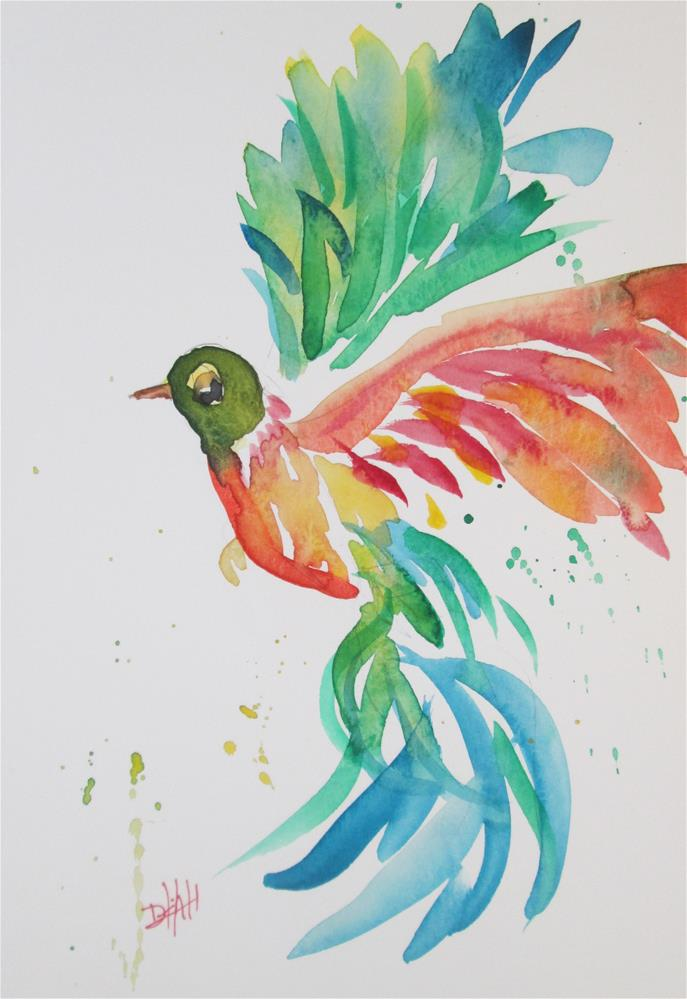 """Wild with Color Hummingbird"" original fine art by Delilah Smith"