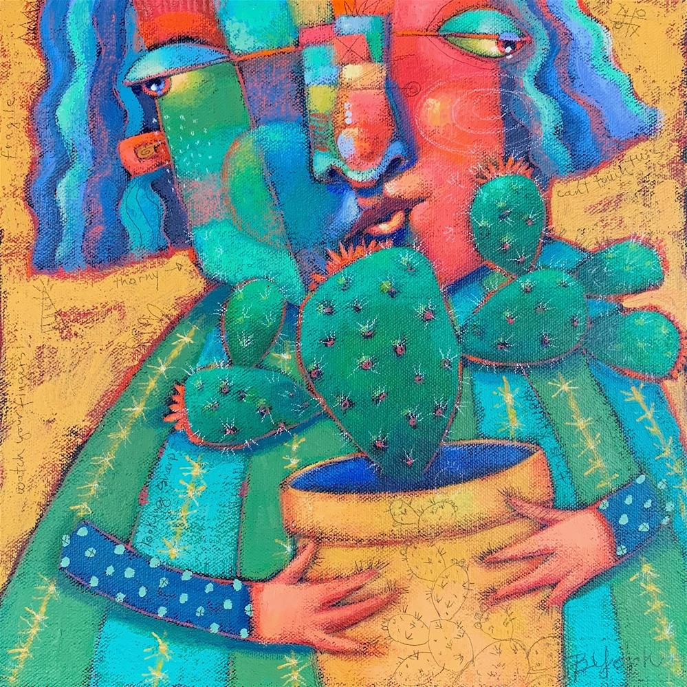 """""""Prickly Object Of Her Affection"""" original fine art by Brenda York"""