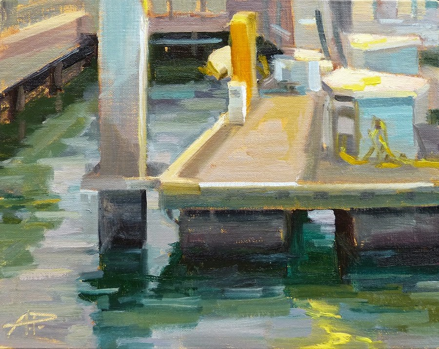 """""""Day 11 of 30 - Balboa Island Early on the Dock"""" original fine art by Anette Power"""