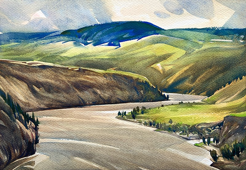 """Above Churn Creek: 9x13 watercolour on paper"" original fine art by Ken Faulks"