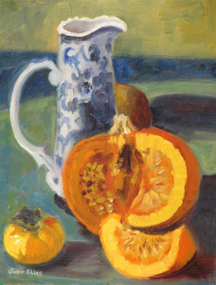 """Blue and Orange"" original fine art by Judy Elias"