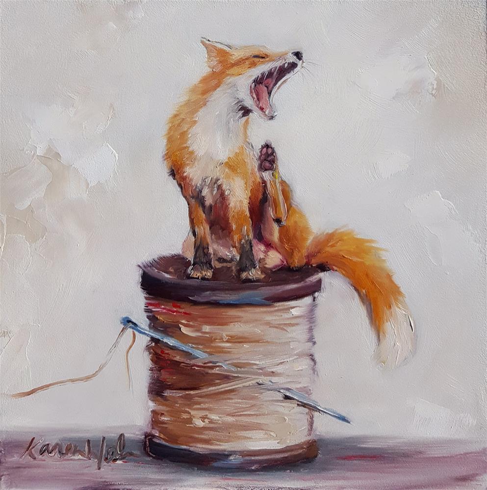 """Darned Drowsy"" original fine art by Karen Weber"