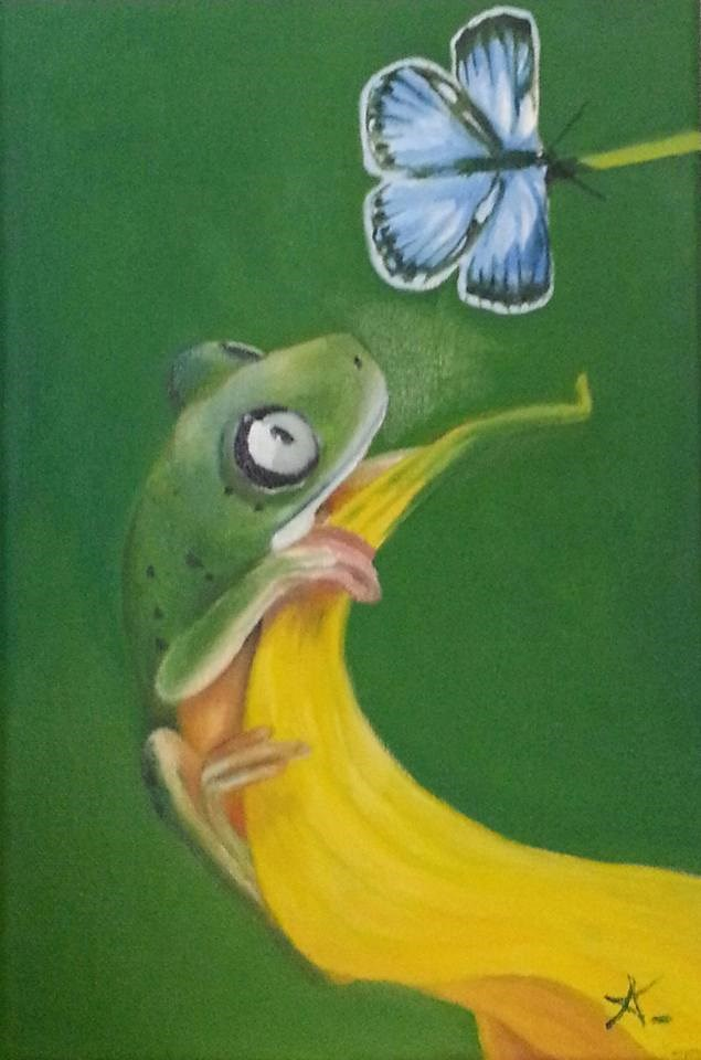 """""""The frog and the butterfly"""" original fine art by Konstantia Karletsa"""