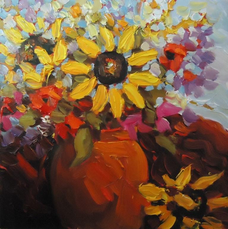 """114 SUNFLOWERS IN BLOOM"" original fine art by Dee Sanchez"
