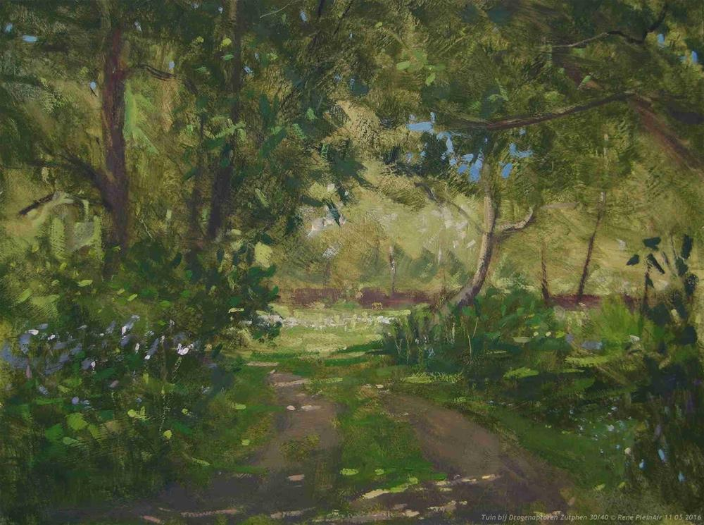 """""""Garden along the Drogenaptoren. Zutphen, The Netherlands"""" original fine art by René PleinAir"""